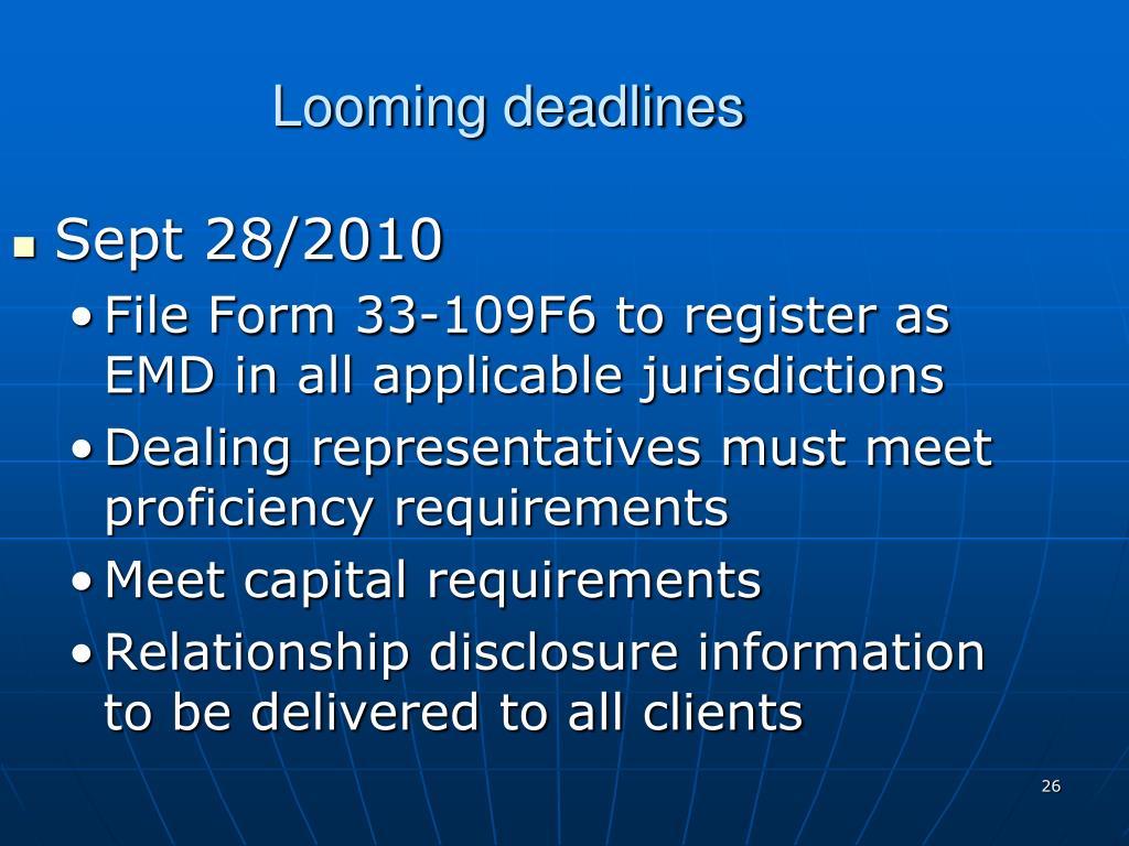 Looming deadlines