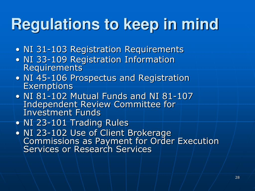 Regulations to keep in mind