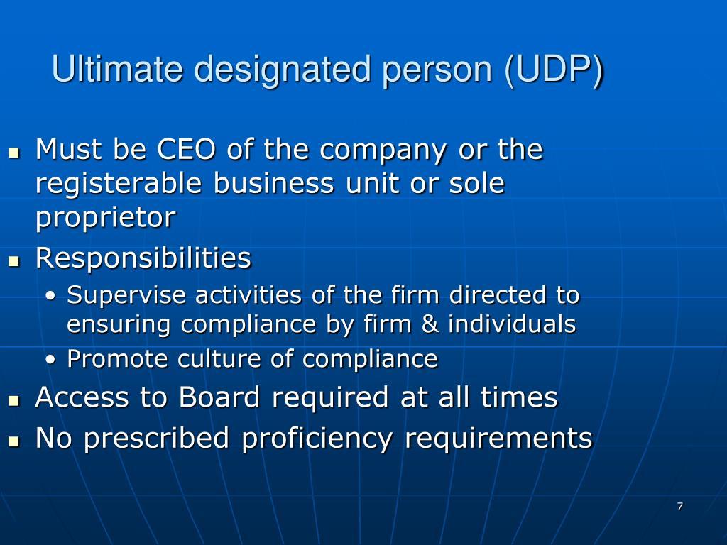 Ultimate designated person (UDP)