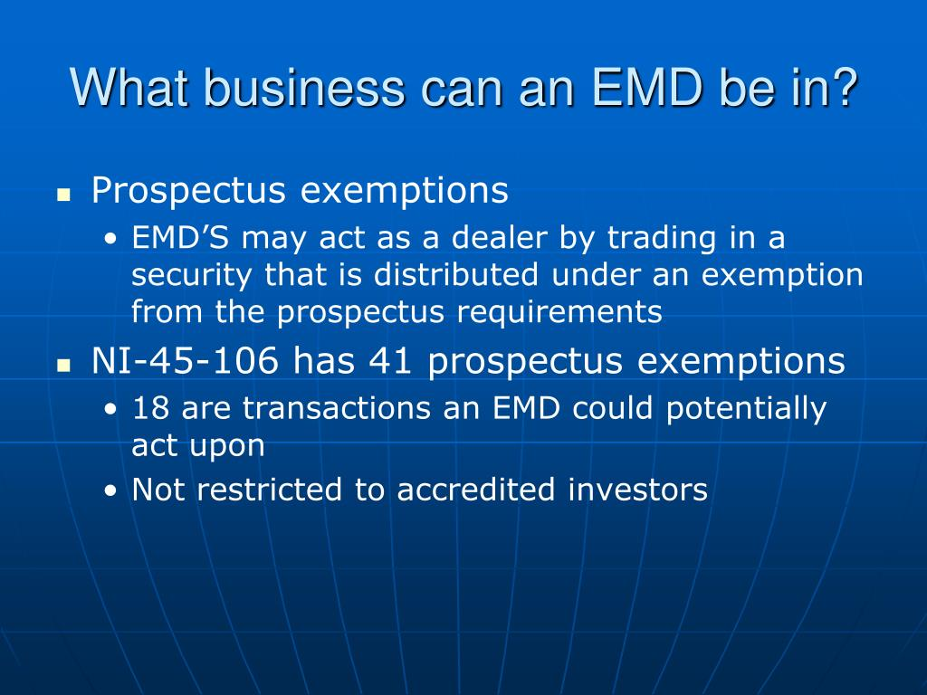 What business can an EMD be in?