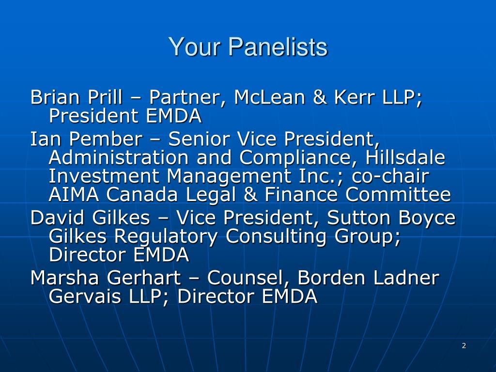 Your Panelists