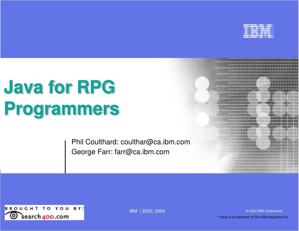 Java for RPG Programmers