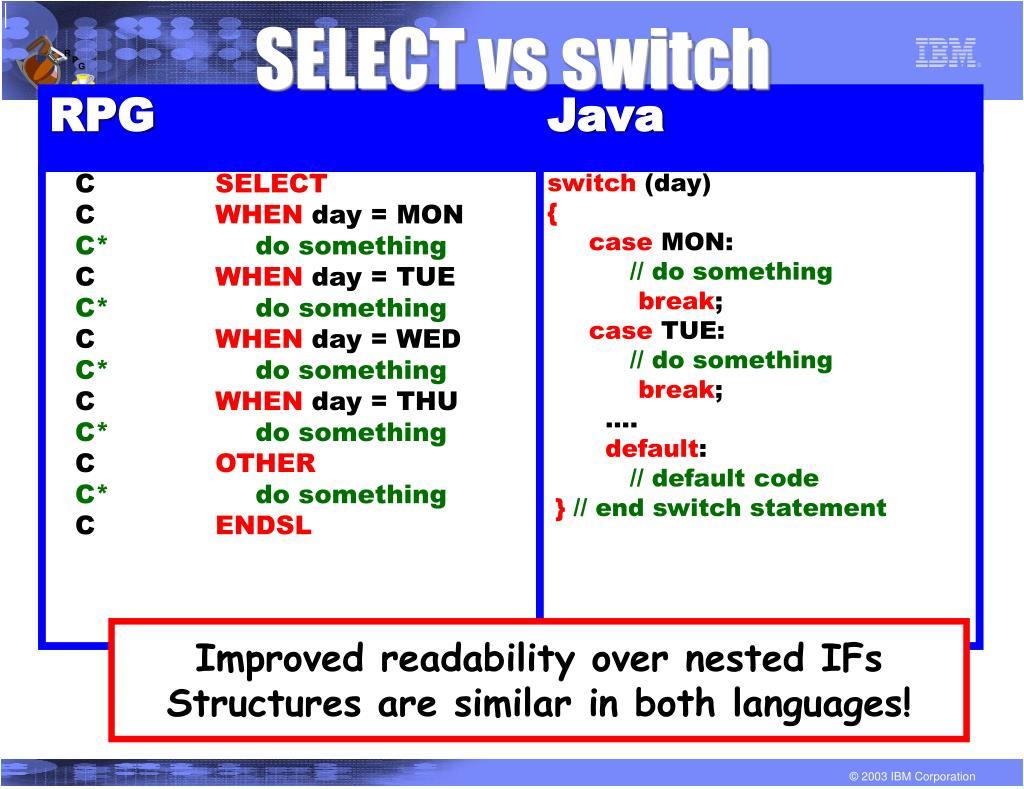 SELECT vs switch