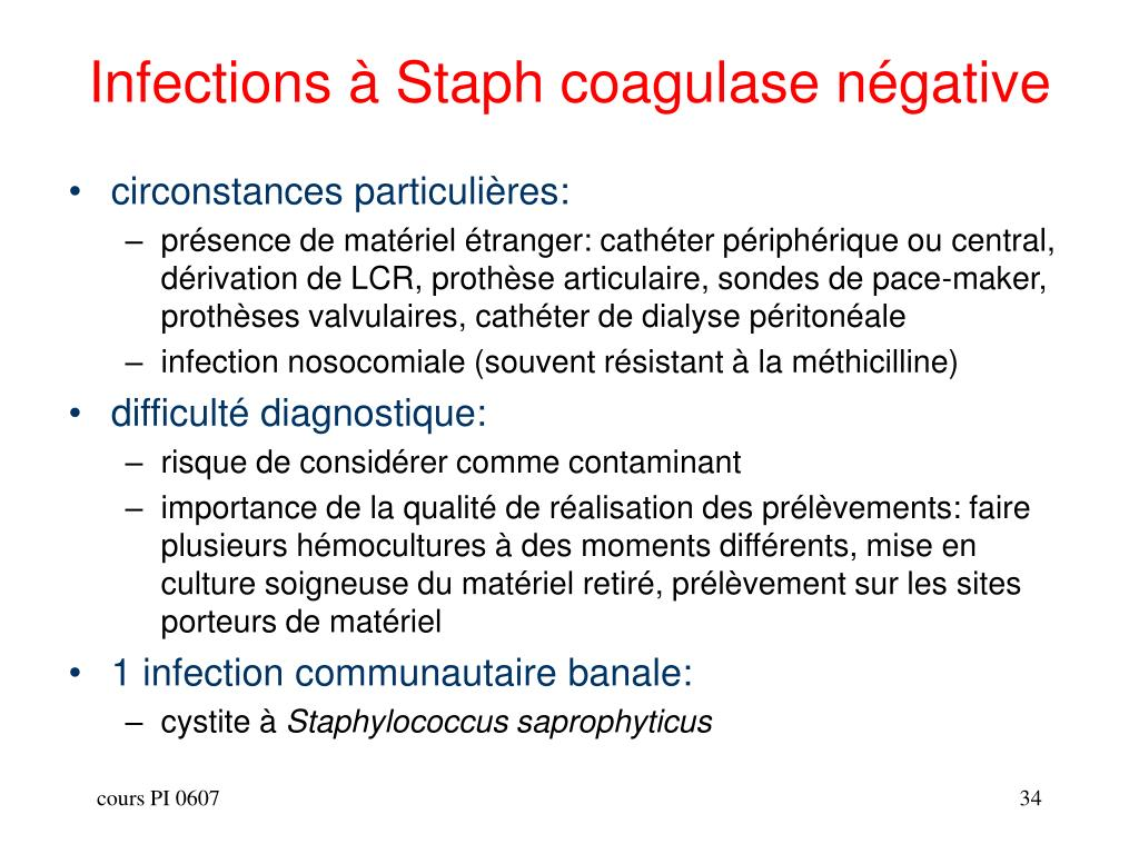 Infections à Staph coagulase négative