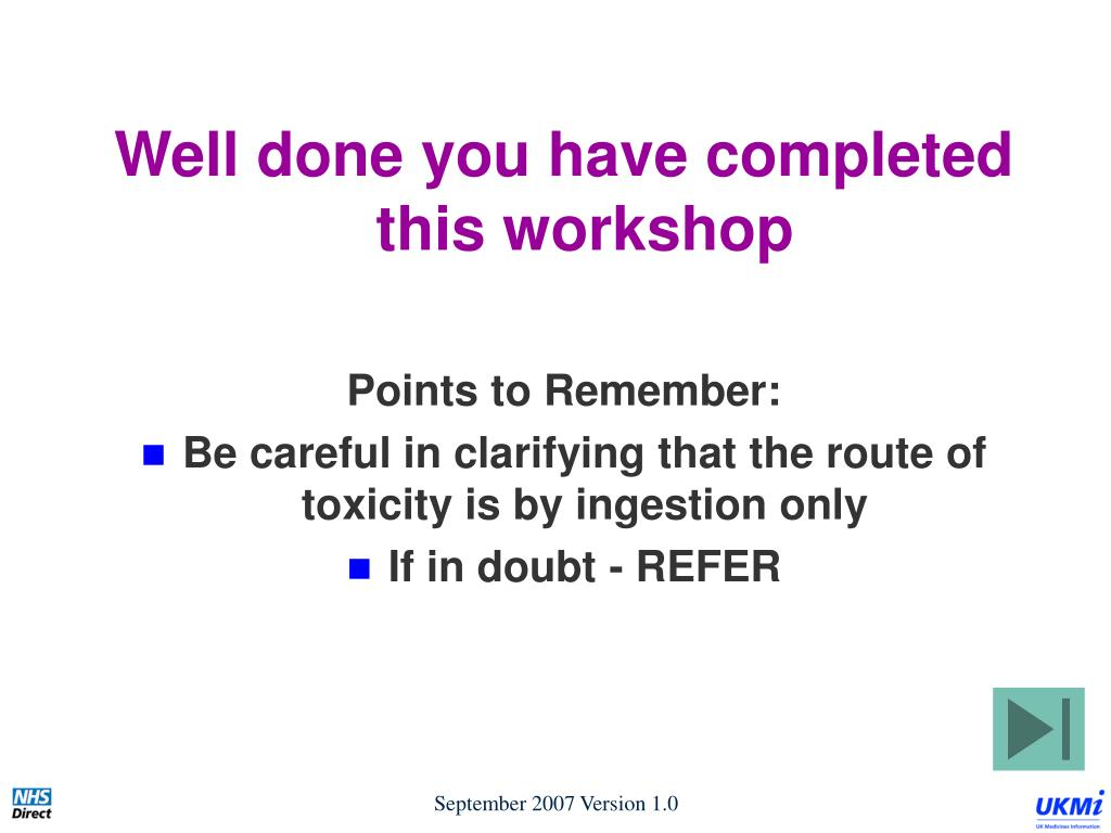 Well done you have completed this workshop