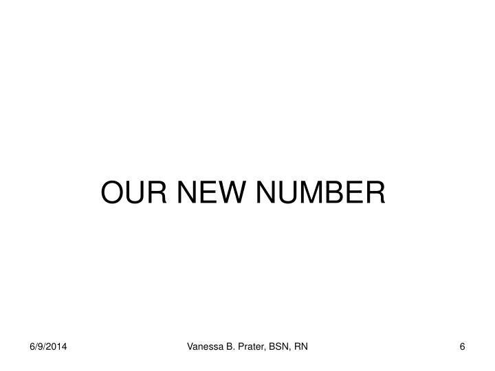 OUR NEW NUMBER