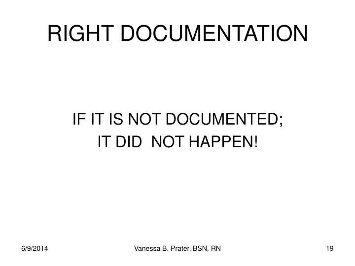RIGHT DOCUMENTATION