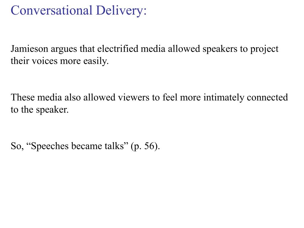 Conversational Delivery: