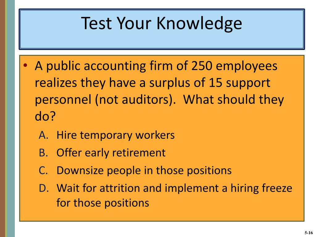 A public accounting firm of 250 employees realizes they have a surplus of 15 support personnel (not auditors).  What should they do?