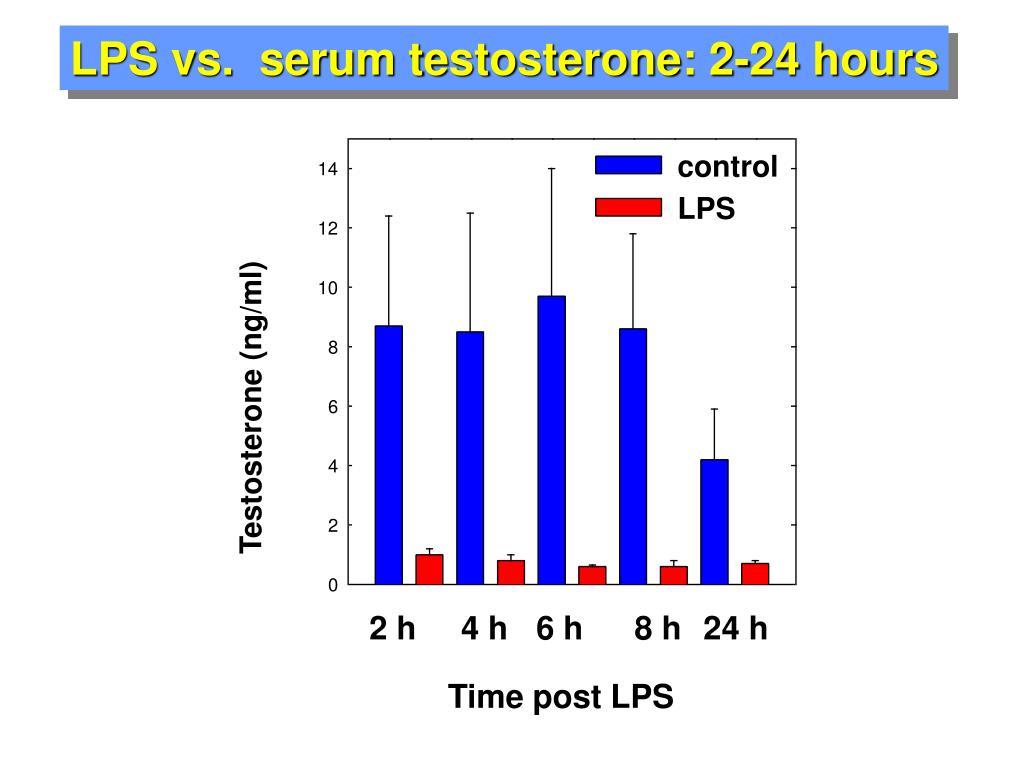 LPS vs.  serum testosterone: 2-24 hours
