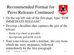recommended format for press releases continued
