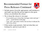recommended format for press releases continued22