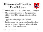 recommended format for press releases