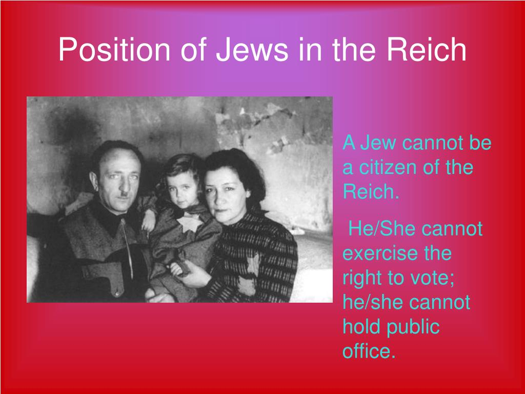 Position of Jews in the Reich