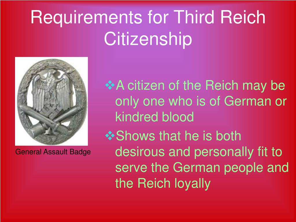 Requirements for Third Reich Citizenship