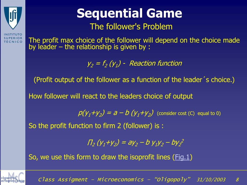 The profit max choice of the follower will depend on the choice made by leader – the relationship is given by :