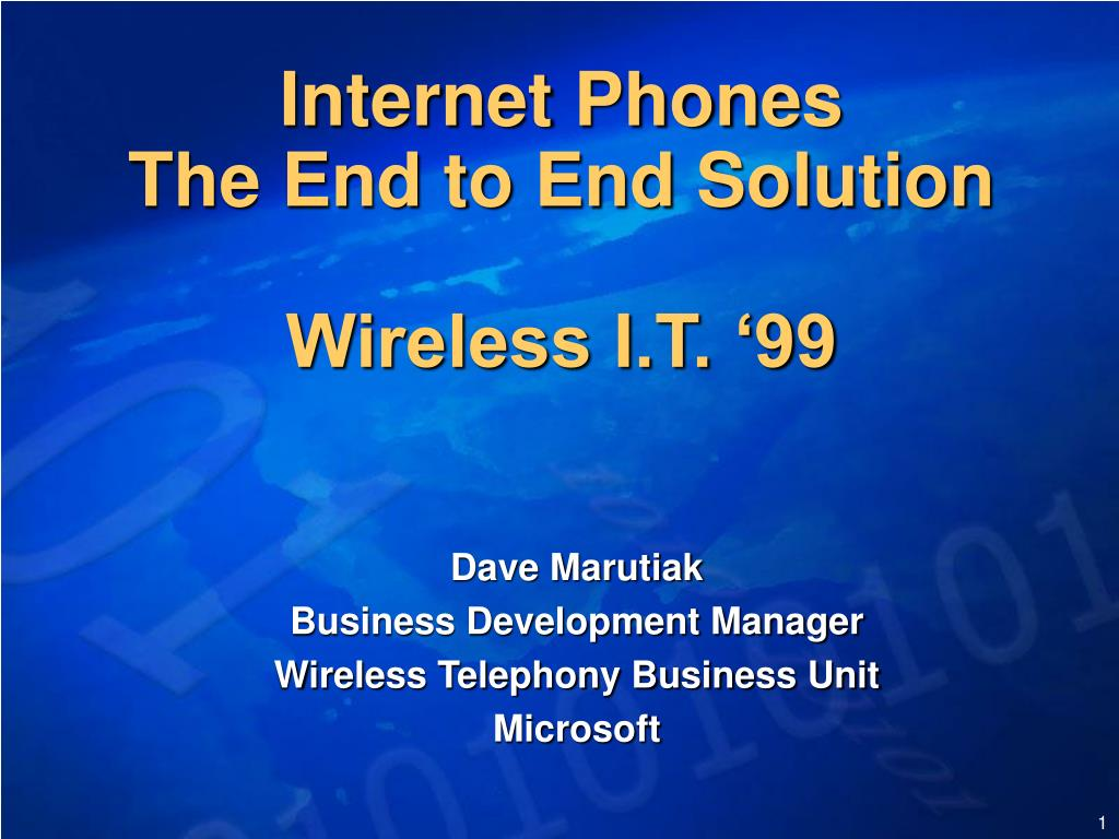 internet phones the end to end solution wireless i t 99 l.