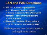 lan and pan directions