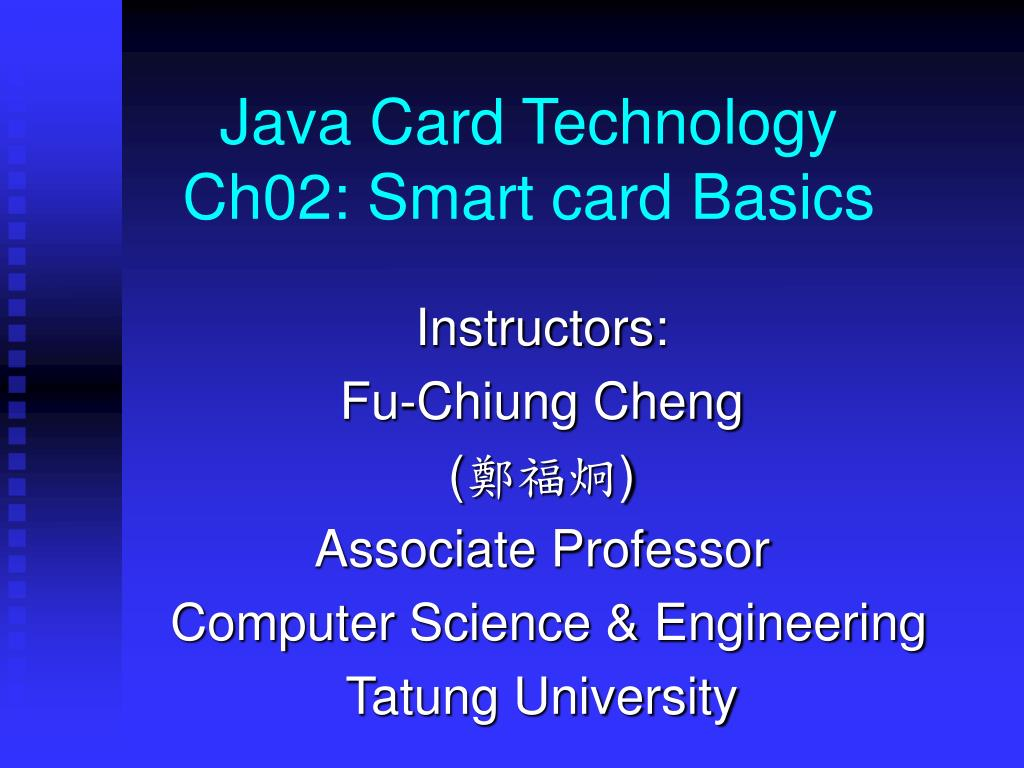 java card technology ch02 smart card basics l.