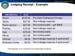 lodging receipt example