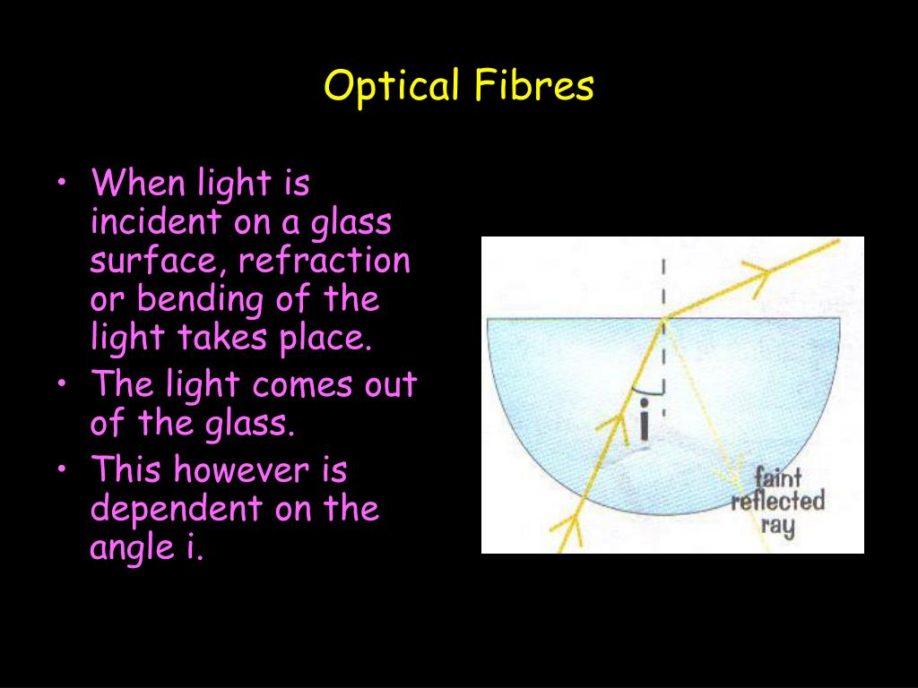 When light is incident on a glass surface, refraction or bending of the light takes place.