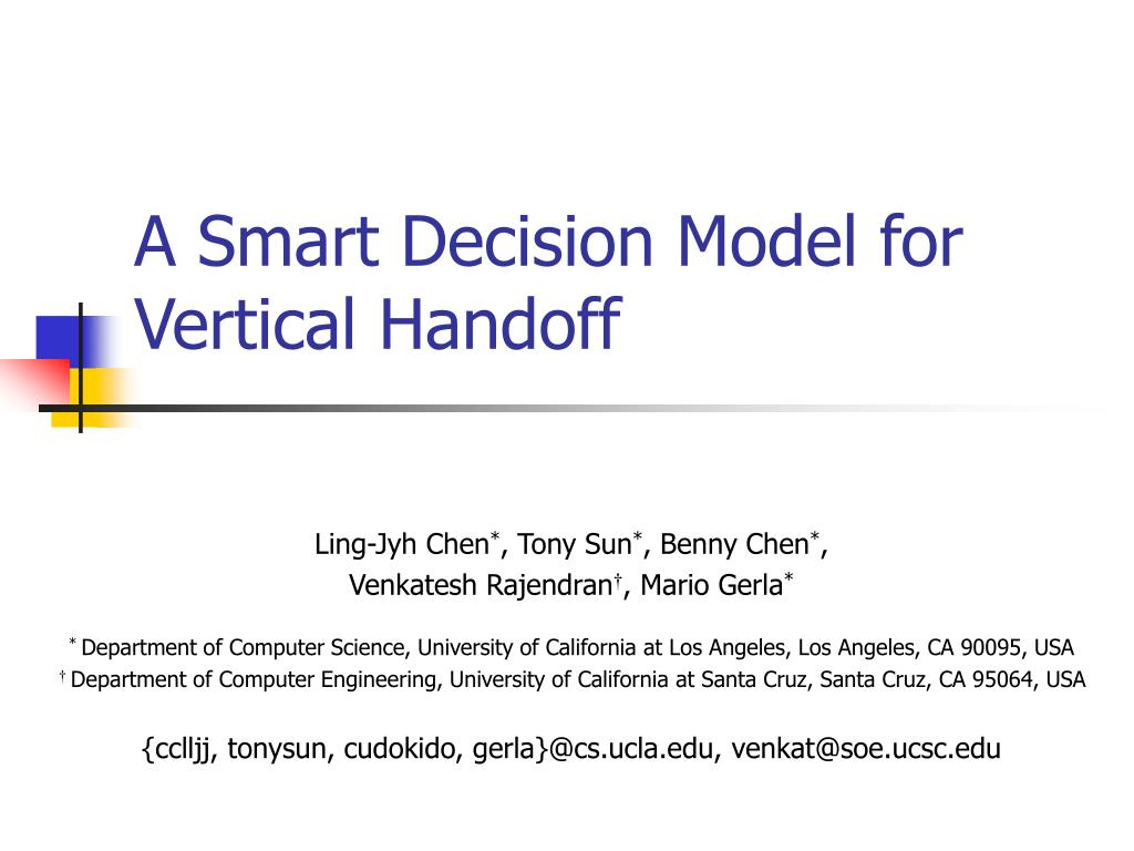 a smart decision model for vertical handoff l.
