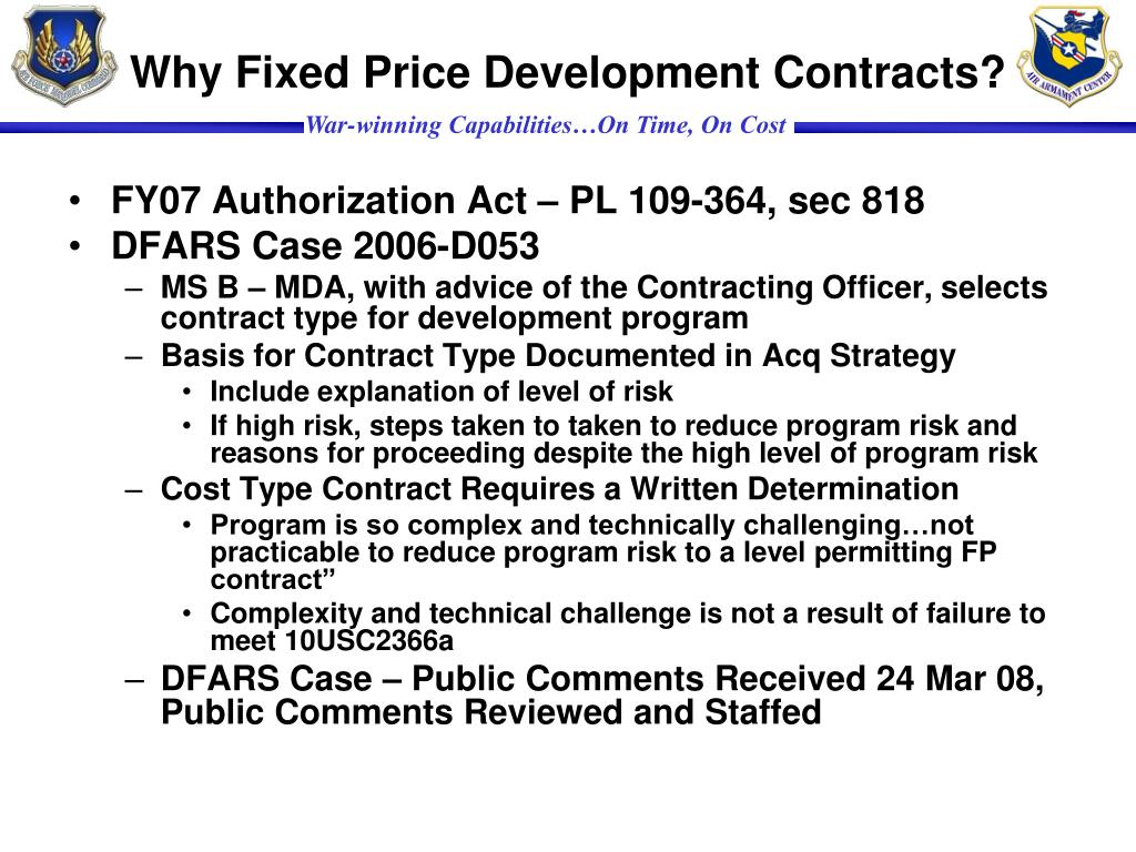 Why Fixed Price Development Contracts?