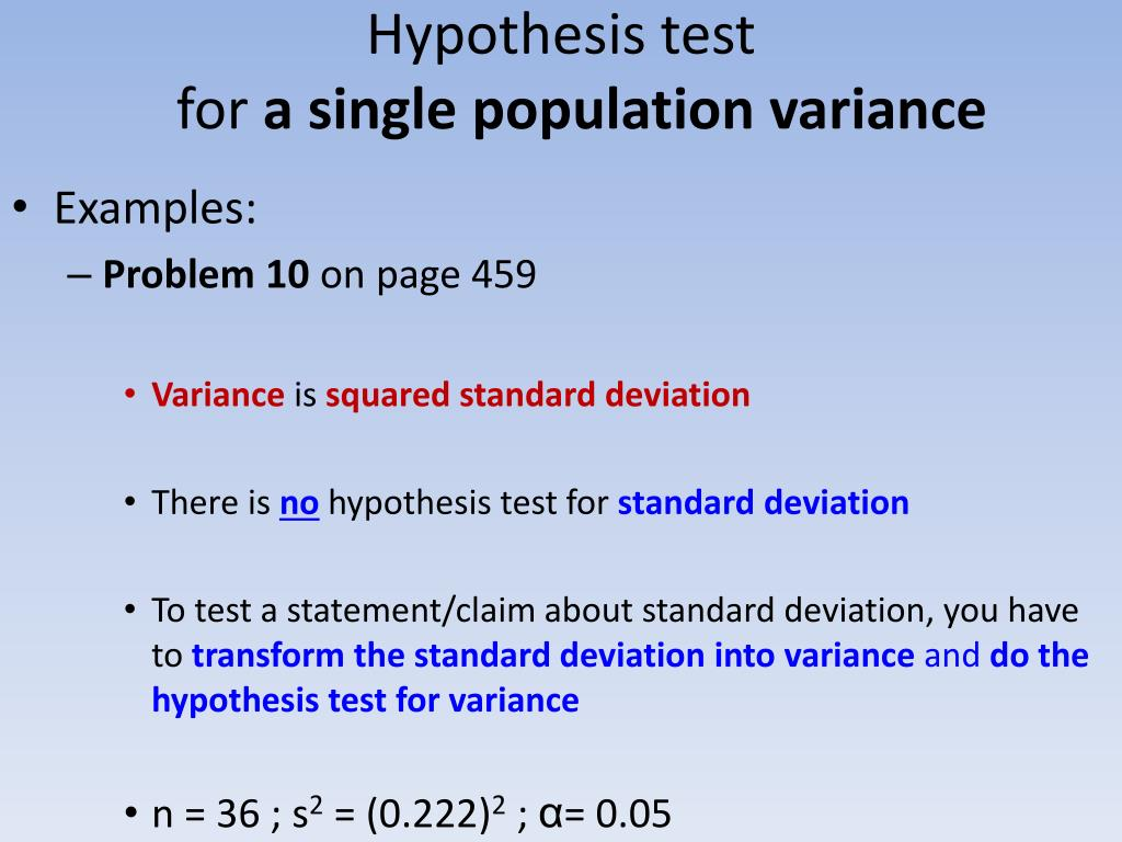 hypothesis tests of a single population