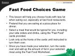 fast food choices game