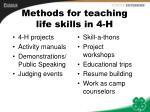 methods for teaching life skills in 4 h