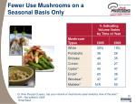 fewer use mushrooms on a seasonal basis only