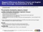 biggest differences between french and english news coverage sensationalism bias