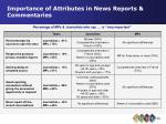 importance of attributes in news reports commentaries27