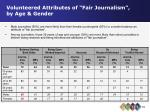 volunteered attributes of fair journalism by age gender