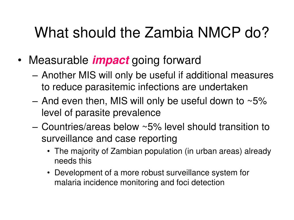 What should the Zambia NMCP do?