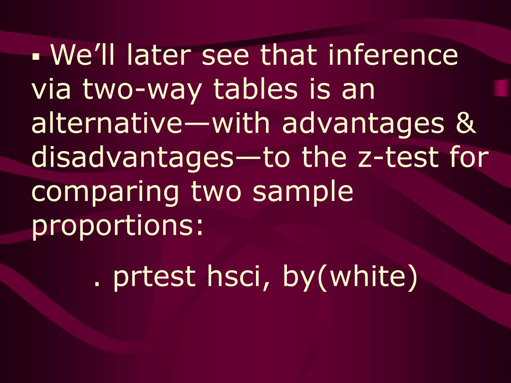 We'll later see that inference via two-way tables is an alternative—with advantages & disadvantages—to the z-test for comparing two sample proportions: