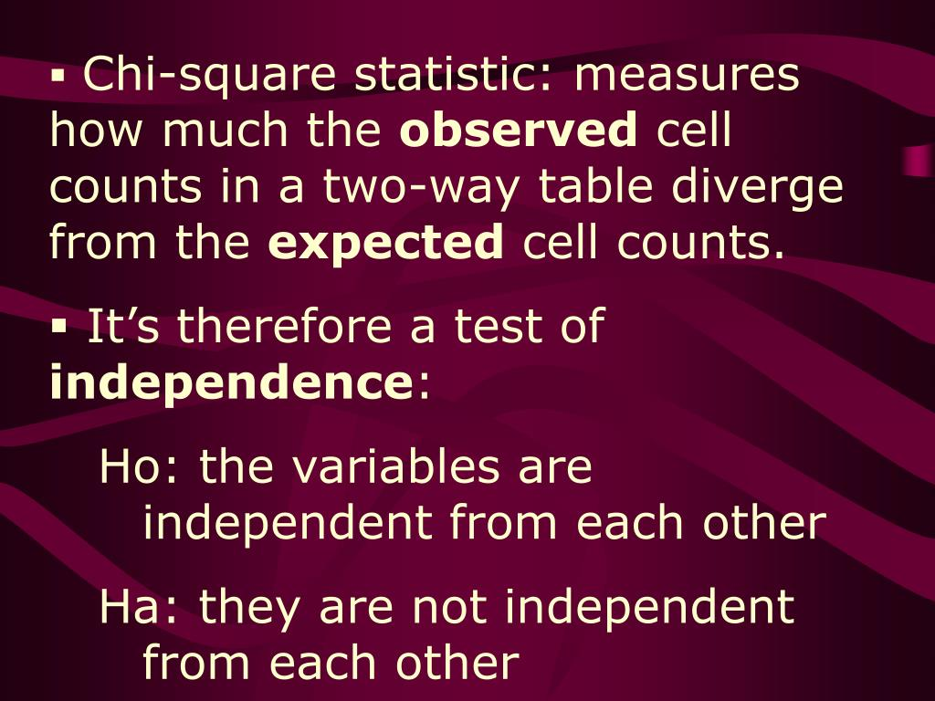 Chi-square statistic: measures how much the