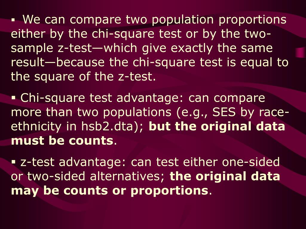 We can compare two population proportions either by the chi-square test or by the two-sample z-test—which give exactly the same result—because the chi-square test is equal to the square of the z-test.