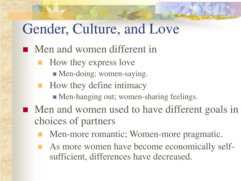 Gender, Culture, and Love