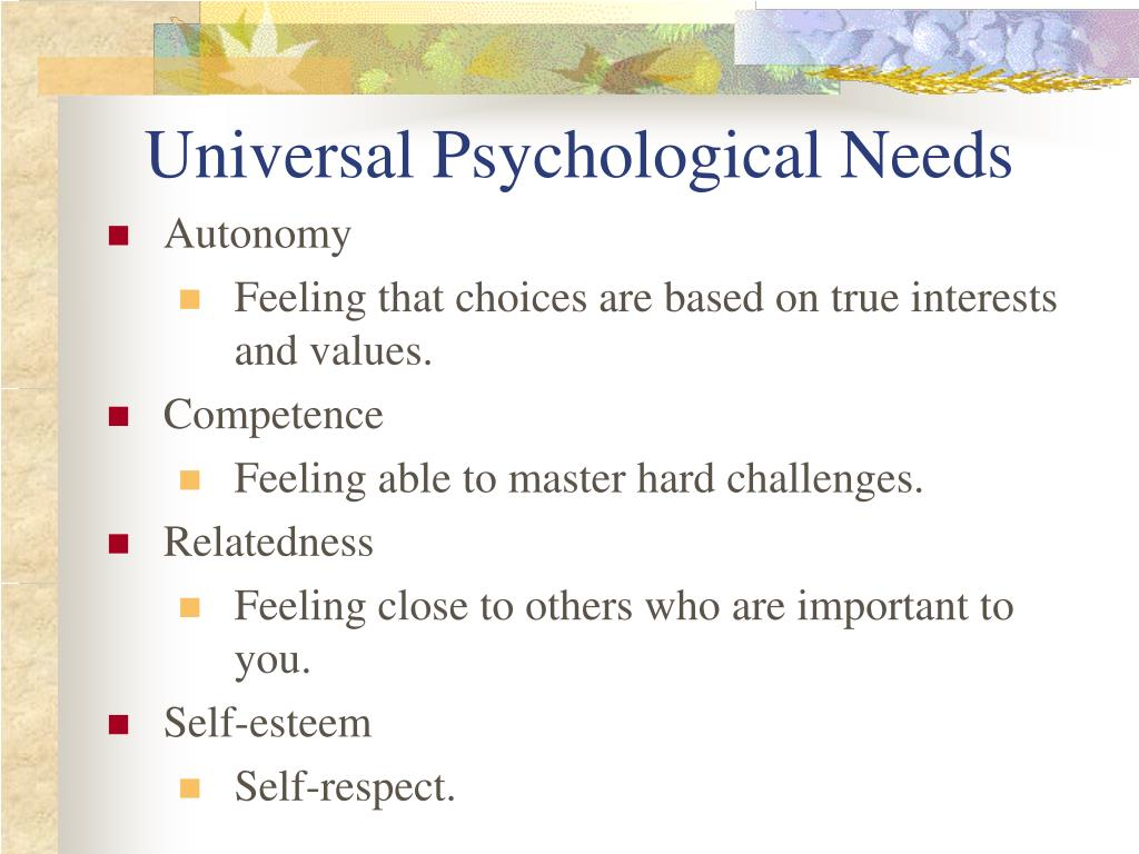 Universal Psychological Needs