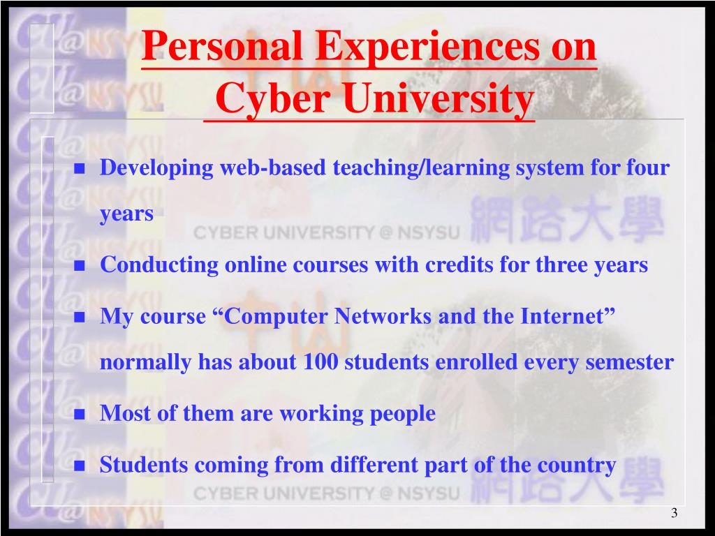 Personal Experiences on
