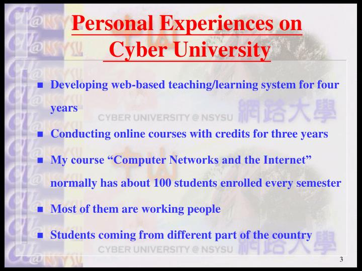 Personal experiences on cyber university