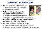 solution an audio wiki