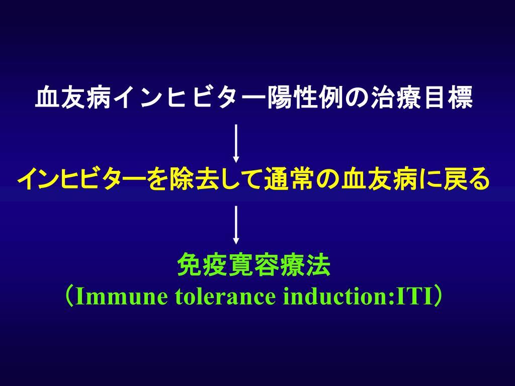 血友病インヒビター陽性例の治療目標