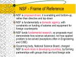 nsf frame of reference
