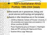 nsf s subsaharan africa portfolio 1999 2004 details9