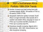 nsf s subsaharan africa portfolio 1999 2004 trends