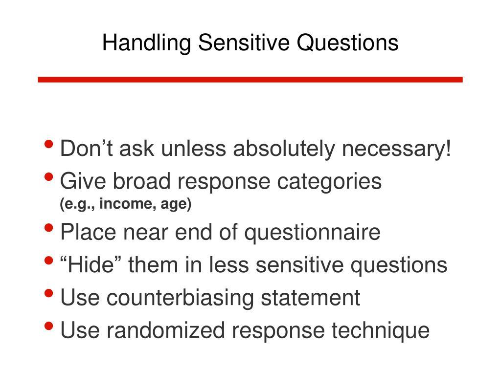 Handling Sensitive Questions