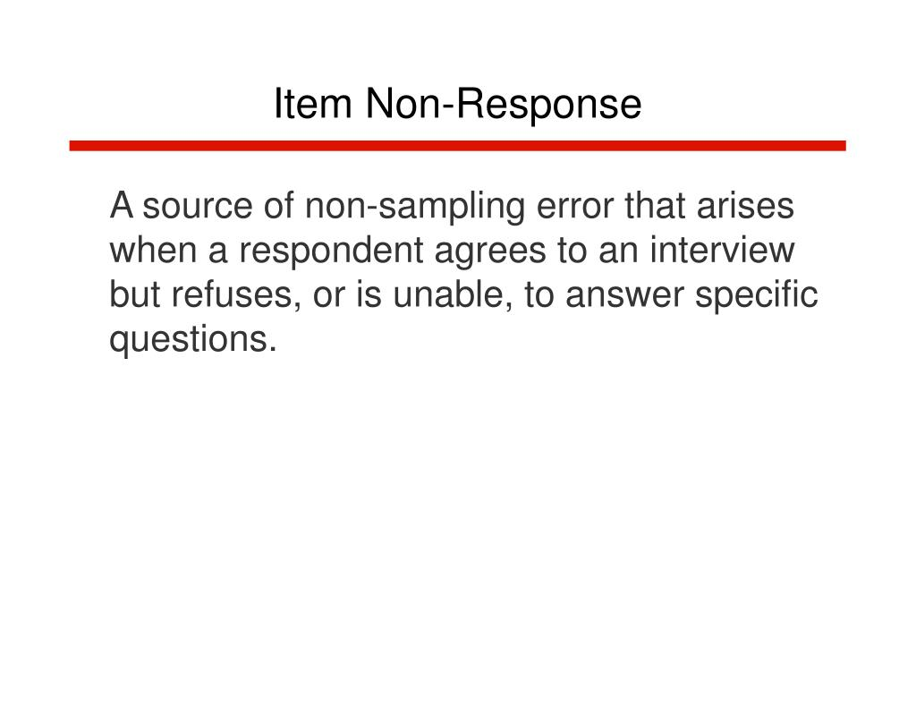 Item Non-Response