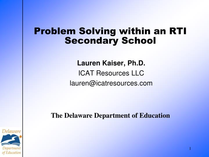 problem solving within an rti secondary school n.